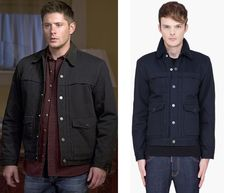 """Dean Winchester (Jensen Ackles) wears a Levis Sallex Sherpa Trucker Jacket in the color Navy in Supernatural Season 11 Episode 1 """"Out of the Darkness, Into the Fire."""" *Note* The costume department altered the collar of Dean's jacket."""