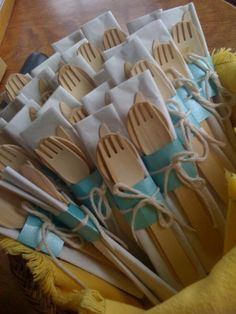Pretty up disposable utensils … Wedding Gift Cutlery, Wedding Favors, Diy Wedding, Rustic Wedding, Wedding Reception, Wedding Gifts, Wedding Decorations, Wedding Gift Boxes, Wedding Ideas