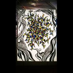 Briga de pássaros - R$350,00 Acrílica - posca - tela 60X30 arte - art