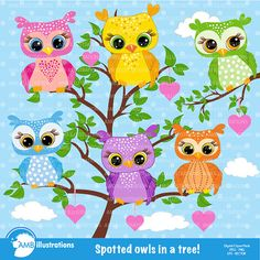 80%OFF Owls clipart vector graphics commercial by AMBillustrations