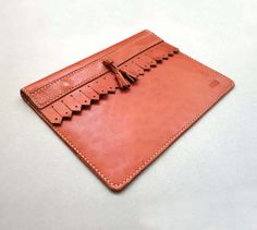 iPad Leather Case with Japanese cloth by CaramelLeatherCrafts