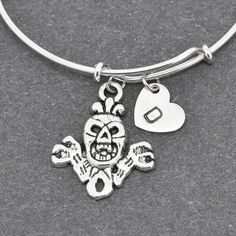 Skull Bangle, Sterling Silver Bangle, Skull Bracelet, Expandable Bangle, Personalized Bracelet, Charm Bangle, Initial Bracelet, Monogram by BangleLand on Etsy