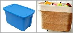 Upcycle an old plastic storage container by wrapping it in jute and adding wheels and some fabric. by eddie