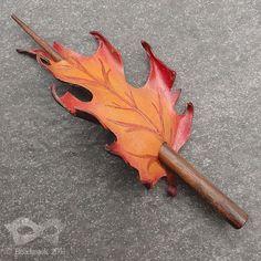 Autumn Blaze Oak Leather Leaf Barrette - Shawl Pin Or hair Slide In Burnt Orange And Scarlet