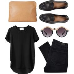 Minimal + Classic black shirt + shades + jeans + shoes. Different glasses, though.