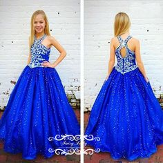Royal Blue Long Girls Pageant Dresses 2018 Luxury Silver Rhinestone Crystal Open Back A Line Kids Prom Party Dress Formal Gown