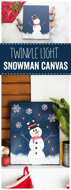 How to paint a DIY Snowman Twinkle Light Canvas - fun and easy painting for the holidays! A fun way to decorate for Christmas or family friendly winter holiday craft idea - and add lights and snowflakes to make a lighted canvas! Cute on the mantle - click for the video & full tutorial. Fun kids party idea to help learn painting, too! #christmas #snowman