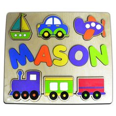 Planes, Trains, & Automobiles Personalized Wooden Name Puzzle, Wood Puzzles, Preschool Puzzle, Boat, Car, Plane, Train id221799151