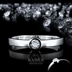 Zásnubný prsteň Diamond Collection 2015, z bieleho 14 karátového lesklého zlata, v ktorom je vsadený 1 briliant o priemere 3,2mm. Možnosť vyhotovenia v žltom aj v červenom prevedení a v každej veľkosti. Wedding Rings, Engagement Rings, Jewelry, Enagement Rings, Jewlery, Jewerly, Schmuck, Jewels, Jewelery