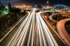 The future is coming! I thought this looked quite dystopian and futuristic with light trails and industrial area/stadiums back there. What is the one future tech you wish we had by 2016? . Captured last night above the I-90 and I-5 interchanges.  I will be back to this spot for a future #makephotos video. Gear: #Sony #A7R2 and #Canon 24-70 Exif: 15 seconds | f/10 | ISO 100