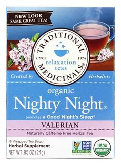 Our organic Nighty Night Extra tea promotes a good night's sleep with the extra power of valerian.* Celebrated by the ancient Greeks to use for occasional sleeplessness, valerian is a gentle, time-tested herbal sedative. Nighty Night Tea, Herbal Remedies, Natural Remedies, Valerian Tea, Relaxing Tea, Natural Sleep Aids, Chamomile Tea, Lemon Balm