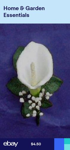 White or Ivory Calla Lily Boutonniere Artificial Silk Wedding Flowers Prom Groom Calla Lily Wedding Flowers, Rose Petals Wedding, Rose Wedding Bouquet, White Wedding Bouquets, Corsage Wedding, Fake Flowers, Artificial Flowers, Lilies Flowers, Calla Lilies