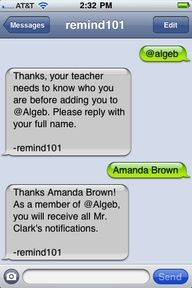 Remind 101 - a FREE text/email alert system for teachers and parents
