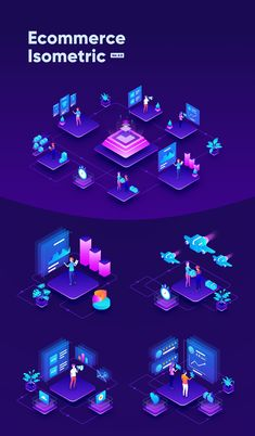 Isometric Ecommerce and Online Shopping — Illustrations on Web Design Icon, Page Design, Web Company, Isometric Design, Viral Marketing, Social Media Trends, Technology Design, Business Illustration, Wallpaper Quotes