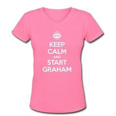 a018d3b83 Spreadshirt Women s Keep Calm and Start Jimmy Graham V-Neck T Shirt  Amazon .com