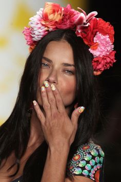 The Best Beauty Looks From New York: Spring 2015. Floral Nail Art from Desigual for Spring 2015