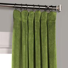 Exclusive Fabrics & Furnishings Signature Blackout Velvet x Curtain Panel - Green Curtain Rod Brackets, Curtain Rods, Cool Curtains, Panel Curtains, Emerald Green Curtains, Velvet Curtains, New Living Room, Casual Elegance, Decorative Pillows