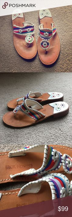 Jack Rogers Sandals These are soooooo cute!  They are in excellent condition only worn a few times.  Only signs of wear are on the bottoms of the shoes from being worn outside a few times.  💕😎💕 They run like a size 9 - 9.5. Jack Rogers Shoes Sandals