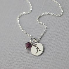 Sterling Silver Initial Necklace with Birthstone Crystals, Birthstone Necklace, Flower Girl Necklace, Bridesmaid Necklace, Personalized Gift