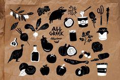 Voor een nieuw te openen Griekse delicatessenzaak in Birmingham ( UK) ontwierpen we dit logo en bijbehorende serie illustraties voor de tasjes, verpakkingsmateriaal en raambelettering.