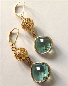 Dangle drop earrings  Mint Fashion Gold leverback earrings with light blue green glass, Bridesmaid gifts for her Christmas Jewelry