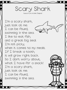 Animals MEGA Unit Pages) Crafts, Books, Slides, Songs & More Ocean Animal Songs-SharkOcean Animal Songs-Shark Shark Song For Kids, Sharks For Kids, Kindergarten Songs, Preschool Songs, Ocean Poem, Shark Activities, Kids Poems, Children Songs, Oceans Song
