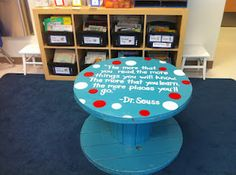 Reading table made from an electrical spool!