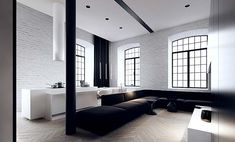Love the idea of living in a loft but this is too cold & minimalist to my liking