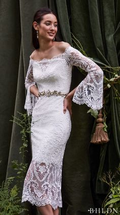 bhldn fall 2016 bridal long bell sleeves off the shoulder scallop straight across neckline full embellishment above the knee romantic bohemian lace short wedding dress (emilia) zv