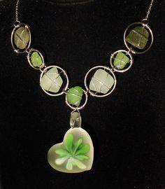 Sea Glass Necklace in Shades of Green with Frosted by oceansbounty, $22.00