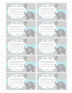 Elephant Baby Shower Games Boy Baby Shower Diaper Raffle Card