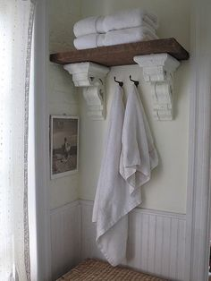 bathroom storage ideas - Re-organize your towels and toiletries during your next round of spring cleaning. Check out some of the best small bathroom storage ideas for Shelves, Corbels, Rustic Bathroom Decor, Shabby Chic Bathroom, French Country Bathroom, Home Diy, Bathrooms Remodel, Beautiful Bathrooms, Bathroom Inspiration