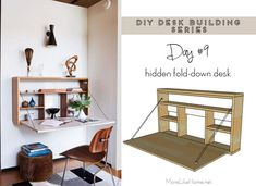 DIY Desk Series Fold-down Wall Desk 2019 Free plans to build a simple fold-down wall-mount desk (plus 20 more desk building plans!) The post DIY Desk Series Fold-down Wall Desk 2019 appeared first on Pallet ideas. Murphy Desk, Murphy Bed Plans, Drop Down Desk, Hidden Desk, Fold Down Desk, Desks For Small Spaces, Small Desk Space, Space Saving Desk, Small Workspace