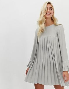 ASOS DESIGN pleated trapeze mini dress with long sleeves   ASOS