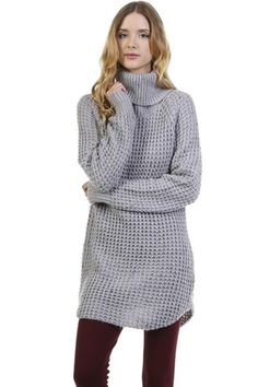 Oversized Speckled Cowl Neck Knit Sweater - Grey