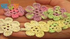 Crochet Cord With Flowers Tutorial 54 Crochet Floral Necklace http://sheruknitting.com/videos-about-knitting/romanian-lace-ribbons-and-cords/item/629-crochet-floral-necklace-cord.html   In this crochet video tutorial you will see a great way to crochet flowers joining them together with a cord made of chain stitches and double crochet stitches. Work in one-go technique. It is a good idea for crochet bracelets, necklace, belts.