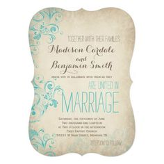"Rustic Vintage Aqua Flourish Wedding Invitations 5"" X 7"" Invitation Card"
