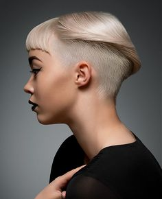 Short Blonde straight coloured shaved-sides defined-fringe womens haircut l MOST POPULAR