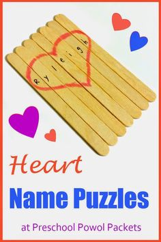 Craft Stick Heart Name Puzzle | Preschool Powol Packets Jigsaw Puzzles For Kids, Puzzles For Toddlers, Fun Games For Kids, Diy For Kids, Gifts For Kids, Kids Food Crafts, Craft Stick Crafts, Science Crafts, Craft Ideas