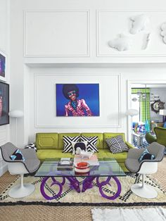 This Funky Living Room Is In Designer Jonathan Adlers Home Modern Furniture And Pop