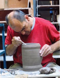 Jeff Oestreich in his studio located in Taylors Falls, Minnesota. Oestreich was a Working Potter in the June/July/August 2008 issue of Ceramics Monthly. http://ceramicartsdaily.org/ceramics-monthly/ceramics-monthly-2008-junejulyaugust/