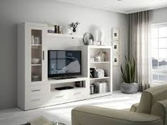 Resultado de imagen de muebles salon blanco y madera Living Room Built In Units, Living Room Tv, Home And Living, Sofa Design, Interior Design, Rack Tv, Muebles Living, Tv Wall Decor, Kitchens And Bedrooms