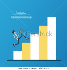 Running up the stairs. Business Vector illustration of a flat design