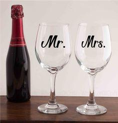 Mr & Mrs Wine Glasses Mr and Mrs Glasses by WholeLotOfCraft