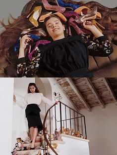Miu Miu, Model: Hailee Steinfeld, Photographer: Bruce Weber. Happiness is piles and piles of glittery shoes.