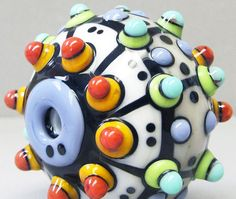 Zuma Big Single in CreamHandmade Lampwork Glass by beadygirlbeads, $27.00