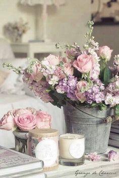 Pink, Lavender/Purple Floral Arrangement - Rustic romantic bouquet in old bucket Casas Shabby Chic, Vintage Shabby Chic, Shabby Chic Homes, Shabby Chic Decor, Vintage Floral, Flower Vintage, Deco Floral, Arte Floral, My Flower