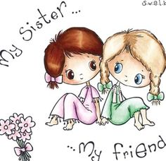 """Lovely """"My sister – my friend"""" drawing. Tags: Cute, Beautiful, Sister Lovely My sister – my friend drawing. Sister Quotes, Best Friend Quotes, Family Quotes, My Best Friend, Best Friends, Brother Sayings, Love My Sister, Best Sister, Sister Friends"""