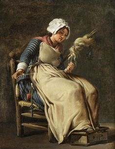 A Kitchen Maid by Hugues Taraval 1783. Details: maid, chair, foot warmer, scissors, pin cushion, spindle, flax, pinner apron, striped petticoat, striped shortgown, striped neck kerchief, ladies cloth cap. Hugues Taraval (1729-1785).
