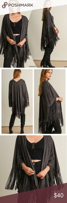 CHIC OPEN FRONT KIMONO Suede like, open front kimono/wrap is a must this season! Asymmetrical fringe details and drapes perfectly! Polyester. Fits a variety of sizes. The M/L will fit about 12-22 and still look great on much smaller sizes. Also available in Nutmeg in a separate listing. tla2 Jackets & Coats Capes